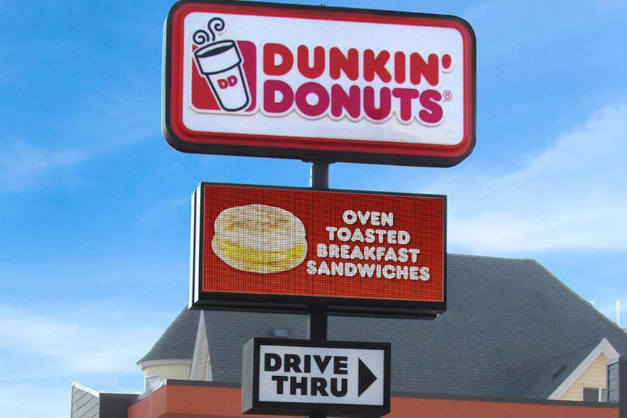 Bright Advertising dunkin donuts sign